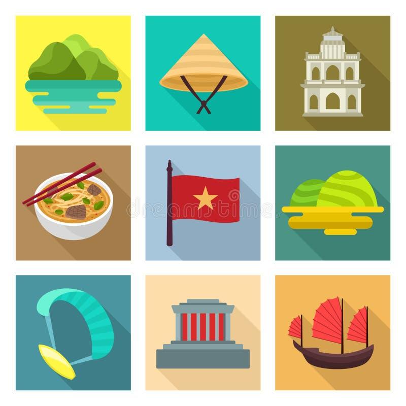 Vietnam loppsymboler royaltyfri illustrationer
