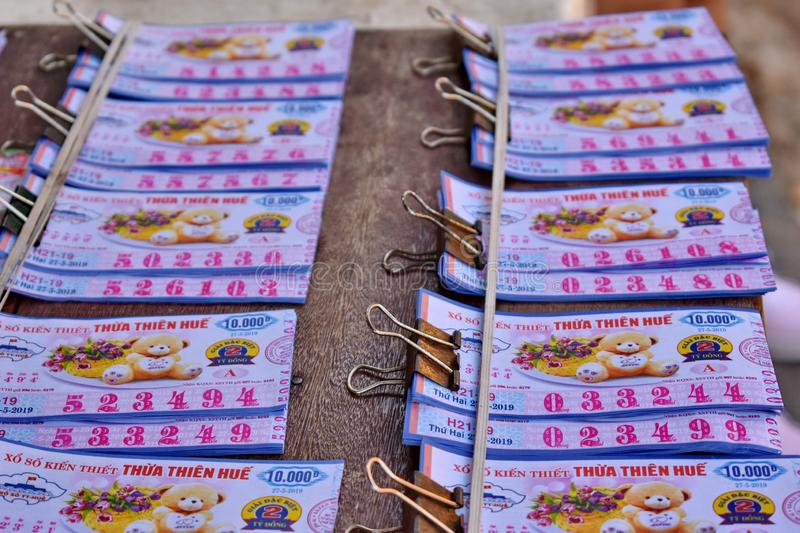 Vietnam Lottery put together waiting for distribution. royalty free stock photos