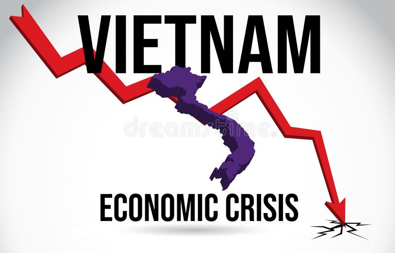 Vietnam Map Financial Crisis Economic Collapse Market Crash Global Meltdown Vector. Illustration vector illustration