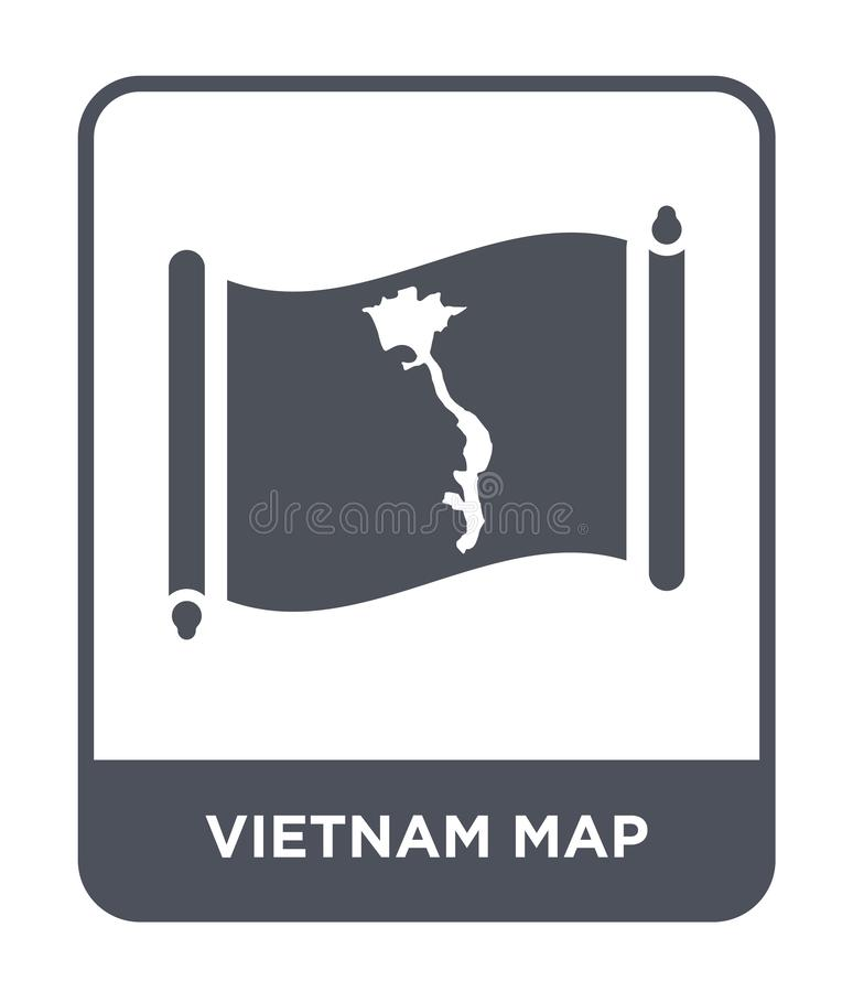 Vietnam map icon in trendy design style. vietnam map icon isolated on white background. vietnam map vector icon simple and modern. Flat symbol for web site vector illustration