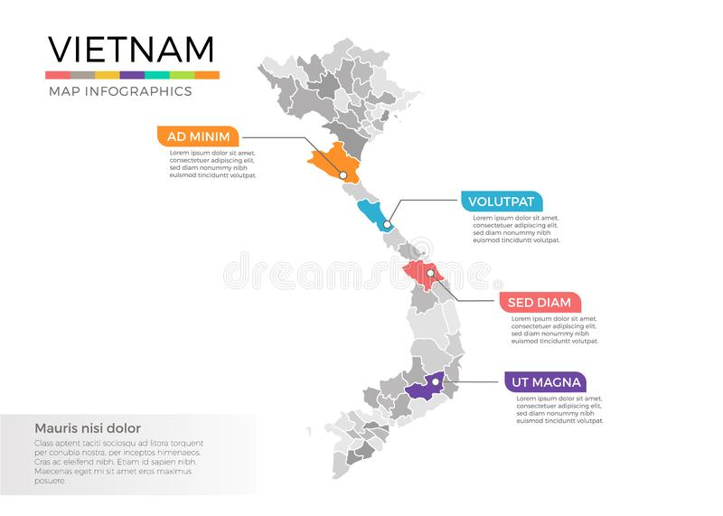 Vietnam map infographics vector template with regions and pointer marks. Vietnam map info-graphics vector template with regions, districts, state, country stock illustration