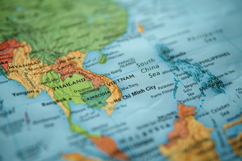 Vietnam on a map. Selective focus on label. Closeup shot royalty free stock image