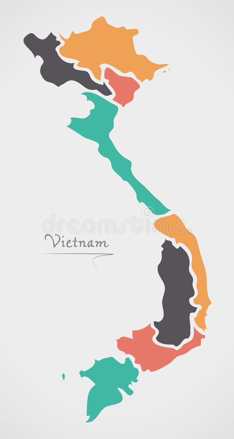 Vietnam Map with states and modern round shapes. Illustration stock illustration