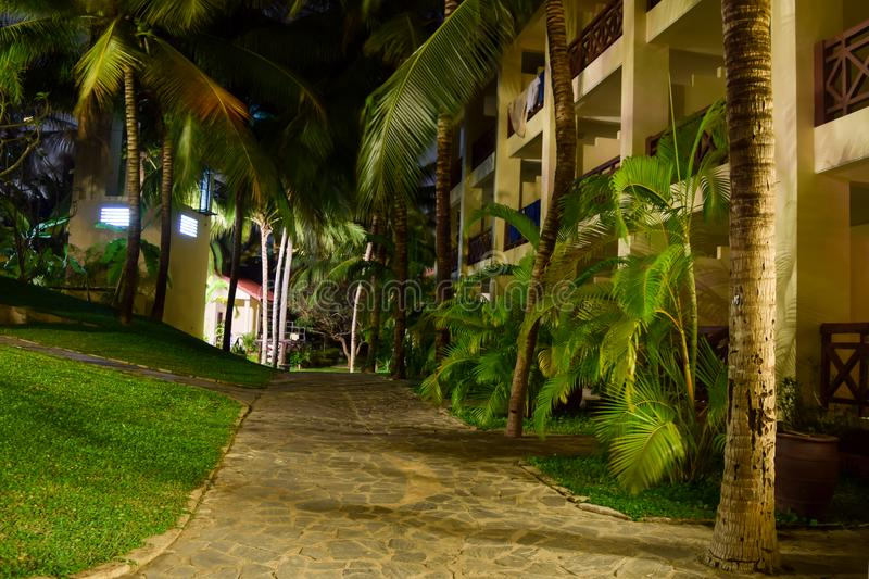 Hotels Courtyard at Night. Vietnam, Mui Ne - 27 March 2017. Beautiful inner courtyard in hotel at night. Photo taken with long exposure royalty free stock photos