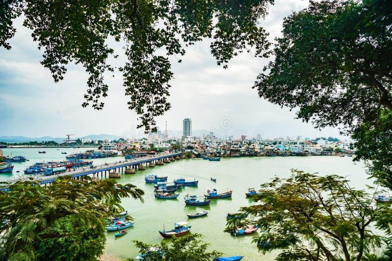 Vietnam Nha Trang Vista del río Kai y de la ciudad fotografía de archivo libre de regalías