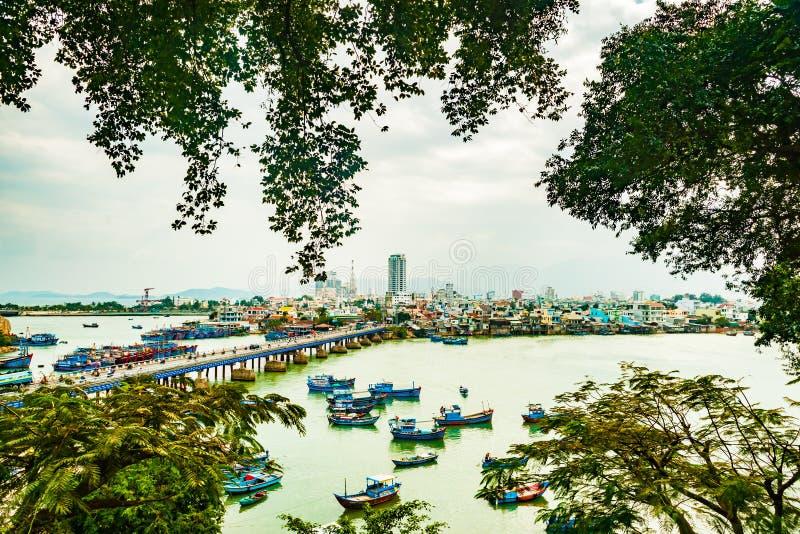 Vietnam Nha Trang Vista del río Kai y de la ciudad imagen de archivo libre de regalías