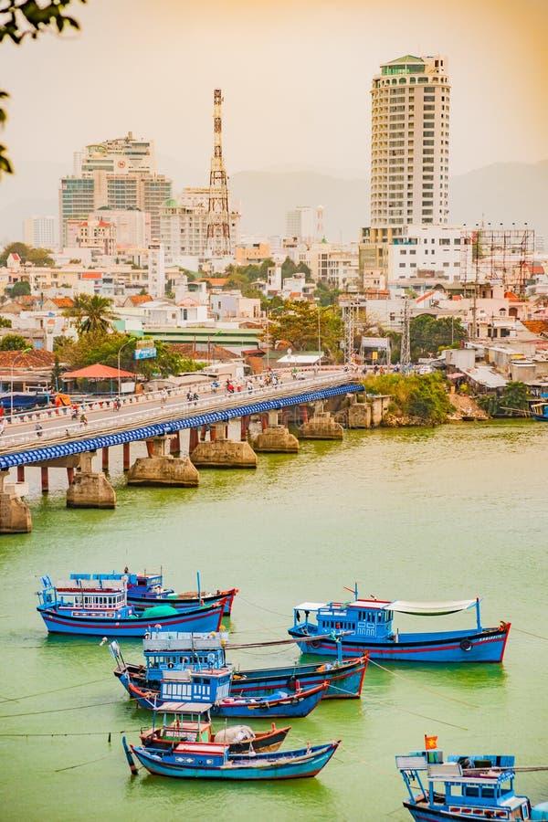 Vietnam Nha Trang Vista del río Kai y de la ciudad imágenes de archivo libres de regalías