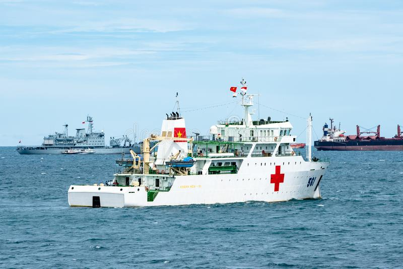 Vietnam People`s Navy Hospital Ship Khanh Hoa HQ-561 anchors in the sea. PADANG, INDONESIA - APRIL 11, 2016 : Vietnam People`s Navy Hospital Ship Khanh Hoa HQ royalty free stock images