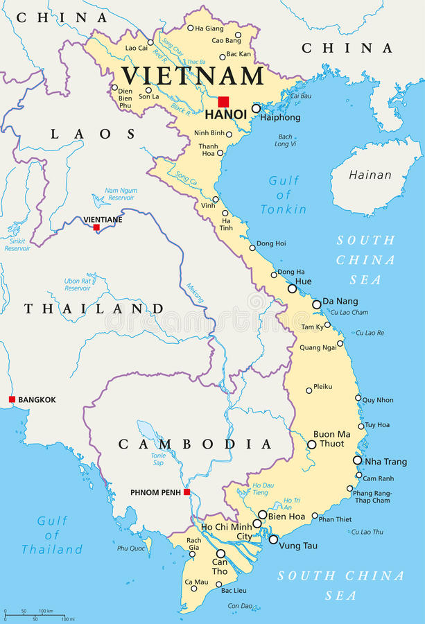 Vietnam politisk översikt vektor illustrationer