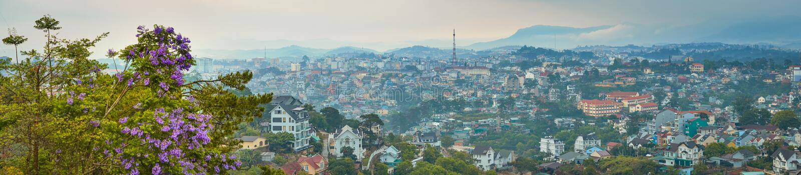 Vietnam`s littel Paris Da Lat cityscape. Beautiful view of Dalat, Vietnam. Panorama. Vietnam`s littel Paris Da Lat cityscape. Copy of Eiffel tower on background stock photo