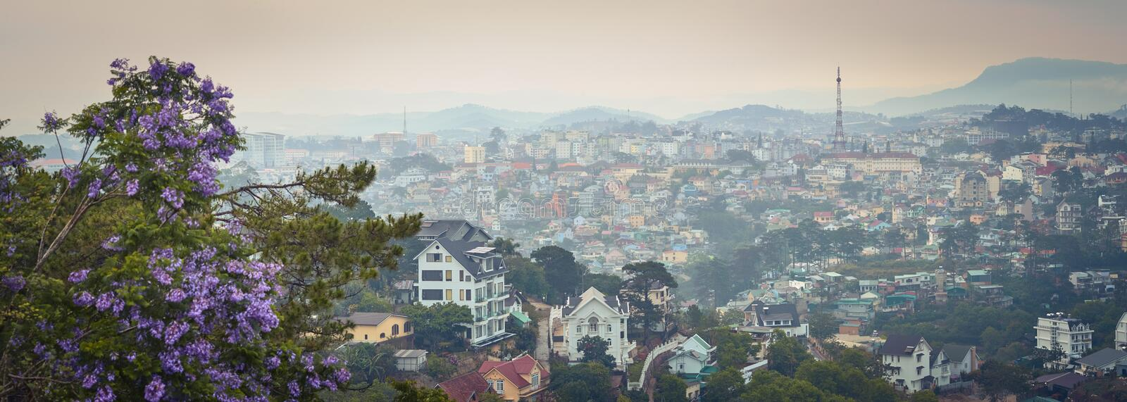Vietnam`s littel Paris Da Lat cityscape. Beautiful view of Dalat, Vietnam. Panorama. Vietnam`s littel Paris Da Lat cityscape. Copy of Eiffel tower on background stock images