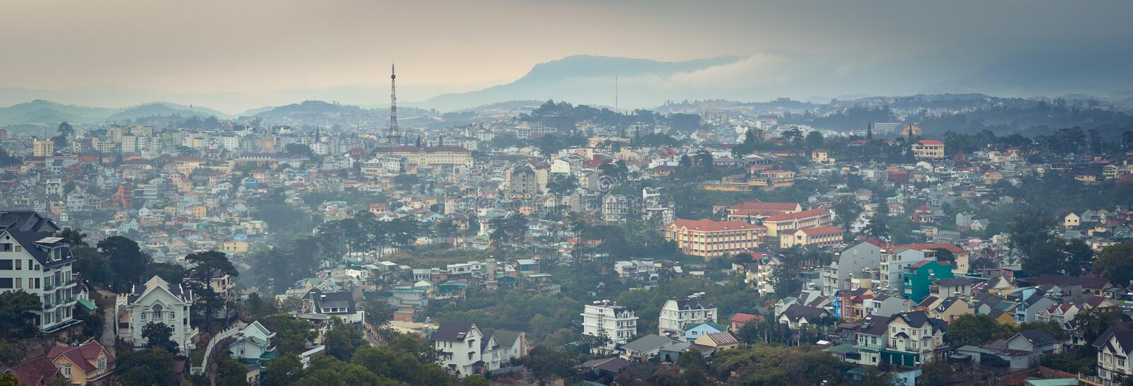 Vietnam`s littel Paris Da Lat cityscape. Beautiful view of Dalat, Vietnam. Panorama. Vietnam`s littel Paris Da Lat cityscape. Copy of Eiffel tower on background royalty free stock images