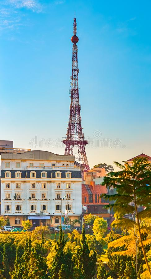 Vietnam`s littel Paris Da Lat cityscape. Beautiful view of Dalat, Vietnam. Vertical panorama. Vietnam`s littel Paris Da Lat cityscape. Copy of Eiffel tower on royalty free stock images
