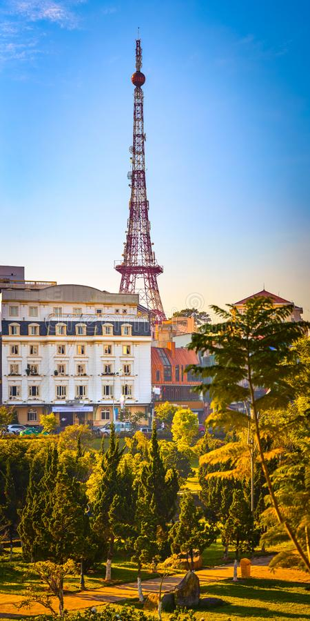Vietnam`s littel Paris Da Lat cityscape. Beautiful view of Dalat, Vietnam. Vertical panorama. Vietnam`s littel Paris Da Lat cityscape. Copy of Eiffel tower on royalty free stock photo