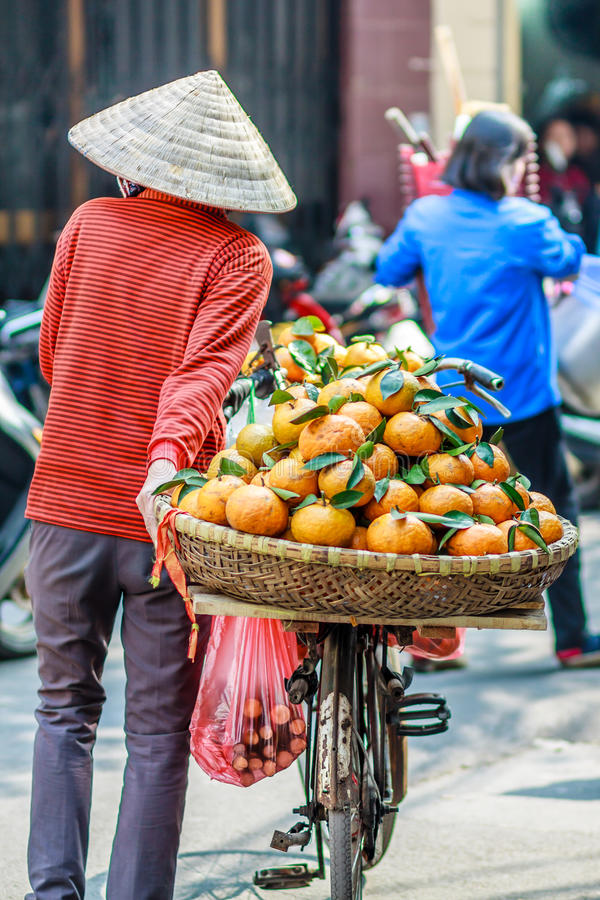 Vietnam street market lady seller royalty free stock image