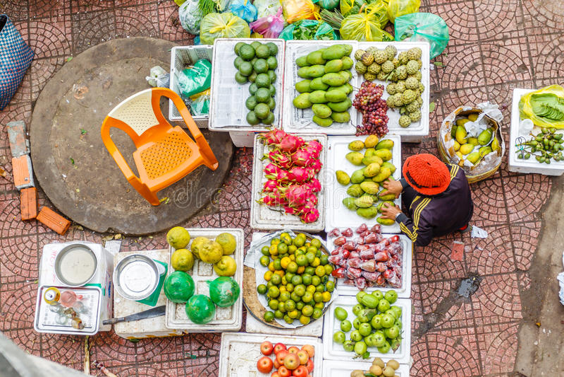 Vietnam street market lady seller. At Hanoi, Vietnam stock photo