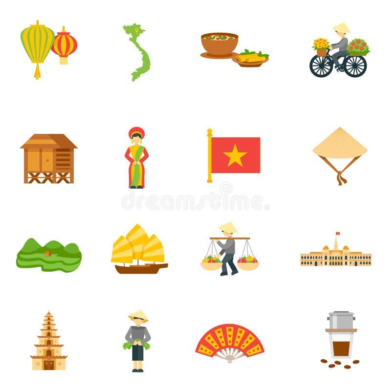 Vietnam symbolsuppsättning stock illustrationer