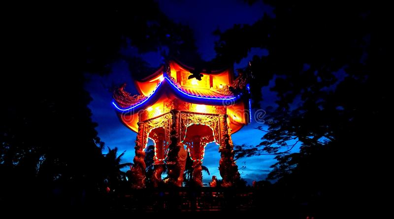 Vietnam temple in the night stock image
