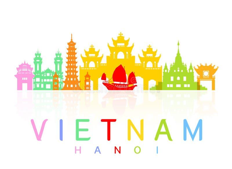 Vietnam Travel Landmarks. stock illustration