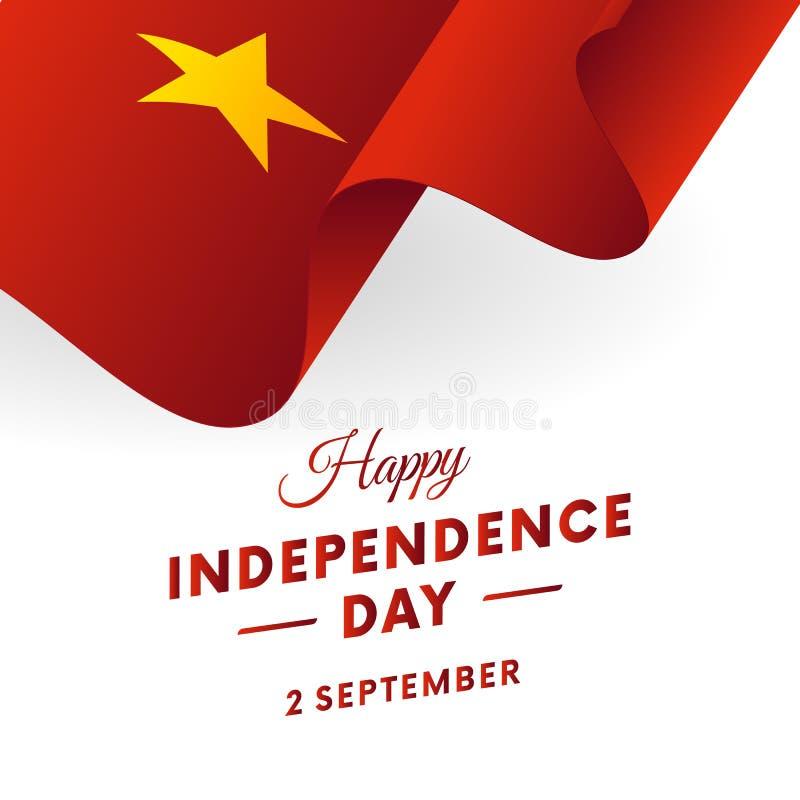 Vietnam-Unabhängigkeitstag 2. September Wellenartig bewegende Markierungsfahne Auch im corel abgehobenen Betrag stock abbildung