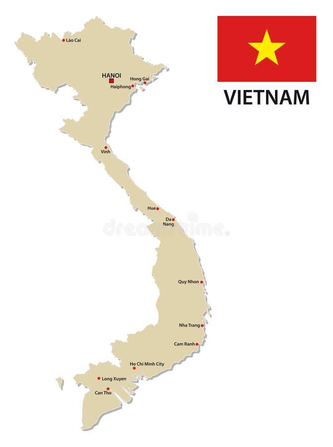 Vietnam vektoröversikt med flaggan royaltyfri illustrationer