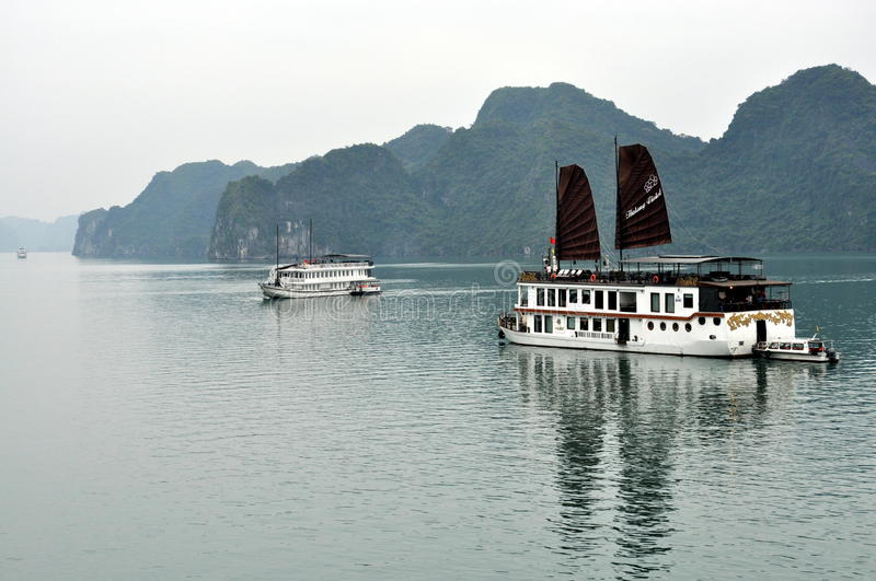 Vietnam - View of Ha Long Bay with cruise boats royalty free stock photos