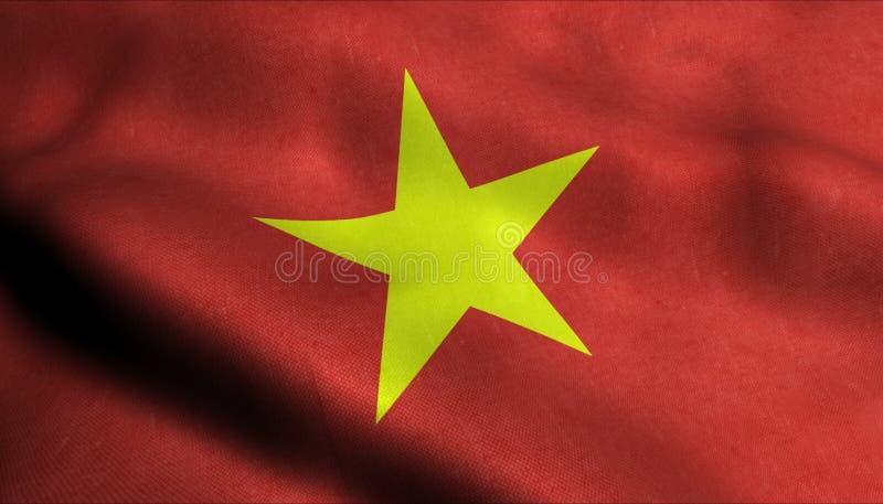 Vietnam vinkande flagga i 3D vektor illustrationer