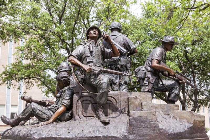 Vietnam War Memorial in Austin, Texas. AUSTIN, USA - APR 10: The Vietnam War Memorial Statue at the Texas State Capitol in Austin. April 10, 2016 in Austin stock photo