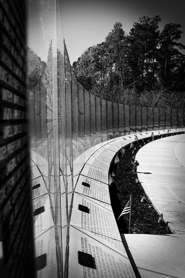 Vietnam War Memorial Wall Black and White Jacksonville, NC royalty free stock photos