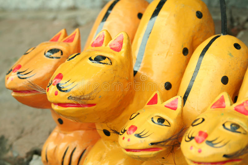 Vietnam Water Puppetry. Puppet Cats used in the Vietnamese Water puppetry show stock photo