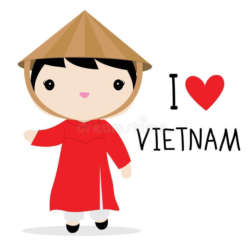 vietnam women national dress cartoon vector stock vector