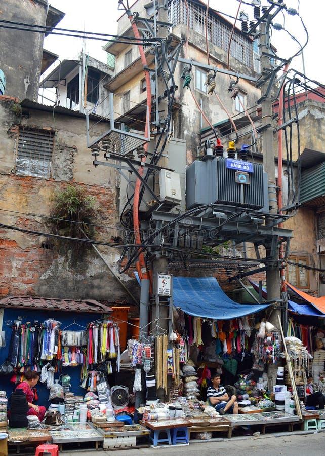 Vietname - Hanoi - local perigoso da loja imagem de stock