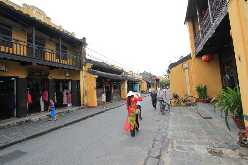 Vietname Hoi An street view. Street view of Hoi An, located in Vietnam. Hoi An is a city of Vietnam, on the coast of the South China Sea in the South Central royalty free stock photos