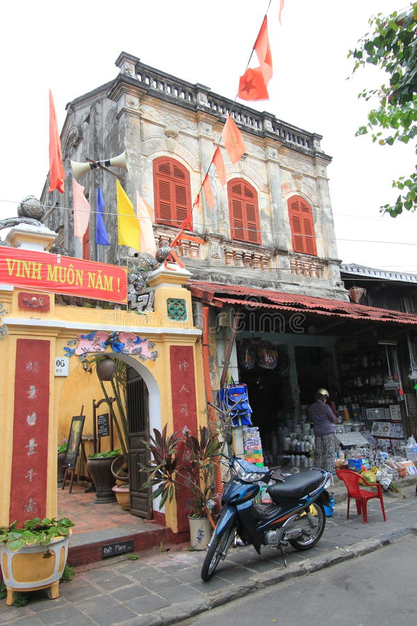 Vietname Hoi An street view. Street view of Hoi An, located in Vietnam. Hoi An is a city of Vietnam, on the coast of the South China Sea in the South Central stock photo