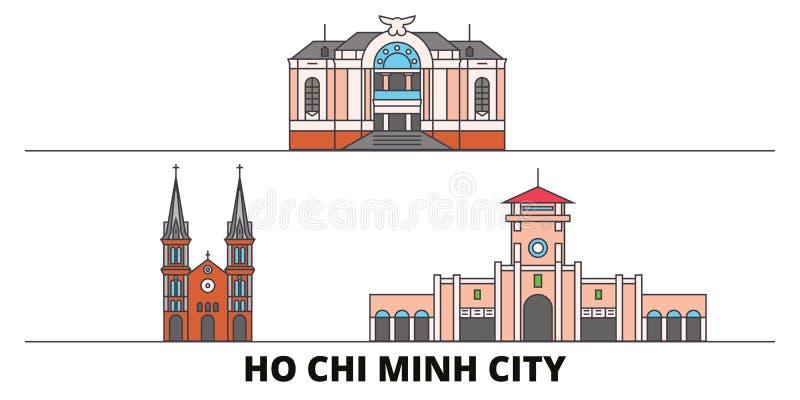 Vietname, ilustração lisa do vetor dos marcos de Ho Chi Minh City Vietname, linha cidade de Ho Chi Minh City com curso famoso ilustração stock