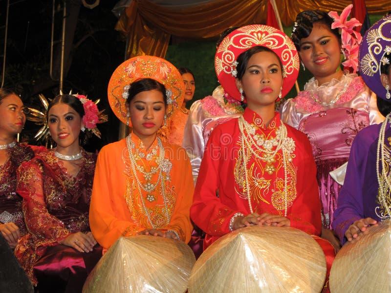 Vietnamees nationaal kostuum. stock afbeeldingen