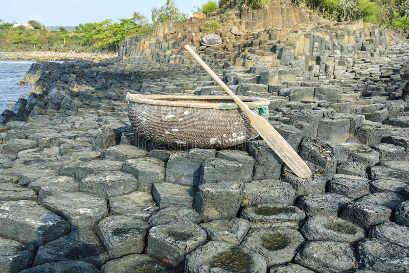 Vietnamese boat at Ghenh da dia beach royalty free stock photo