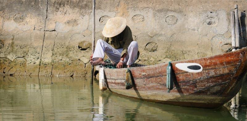 Vietnamese boatman royalty free stock photos