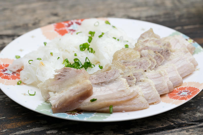Vietnamese boil pork with vermicelli. Banh Hoi Thit Quay, Vietnamese boil pork with vermicelli royalty free stock images