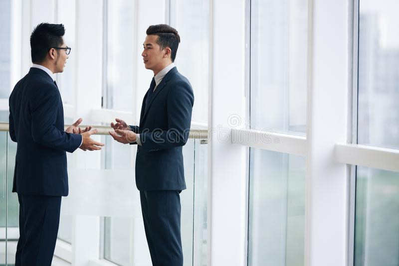 Talking business people stock photos