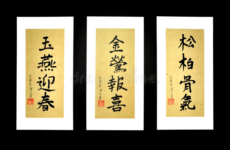 Vietnamese Caligraphy On Rice Paper Stock Images