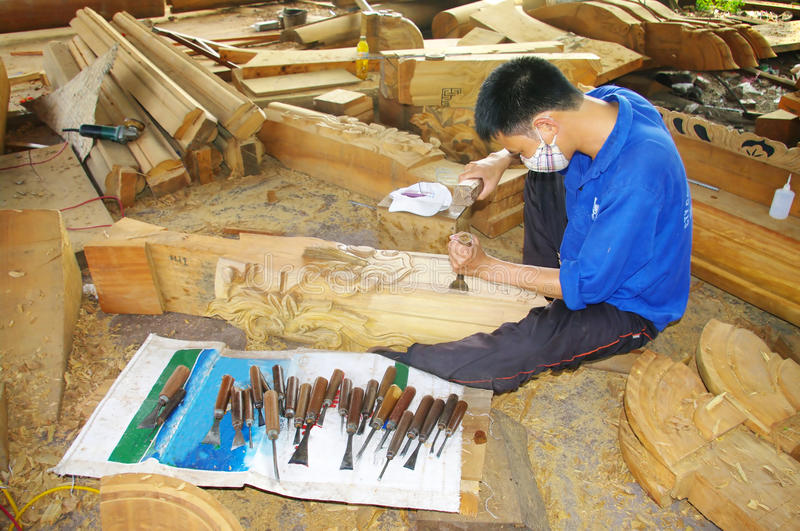 Vietnamese carpenter royalty free stock photos