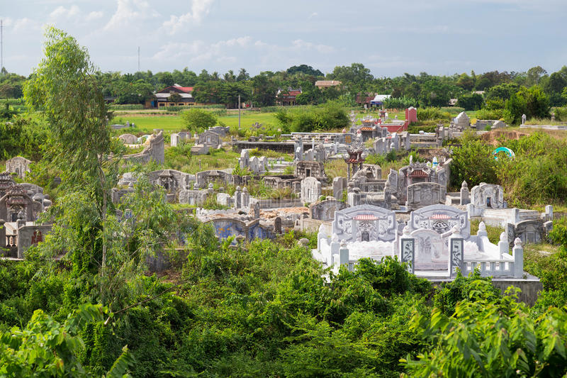 Vietnamese Cemetery near Thien Mu Pagoda in Hue, Vietnam royalty free stock image