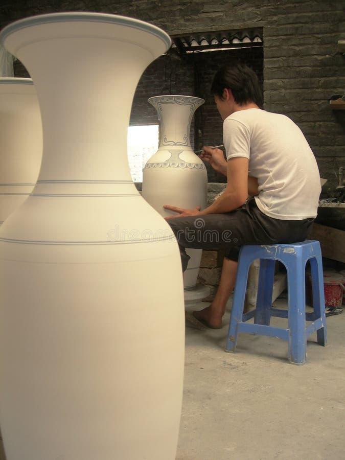 Vietnamese ceramics painter royalty free stock photo