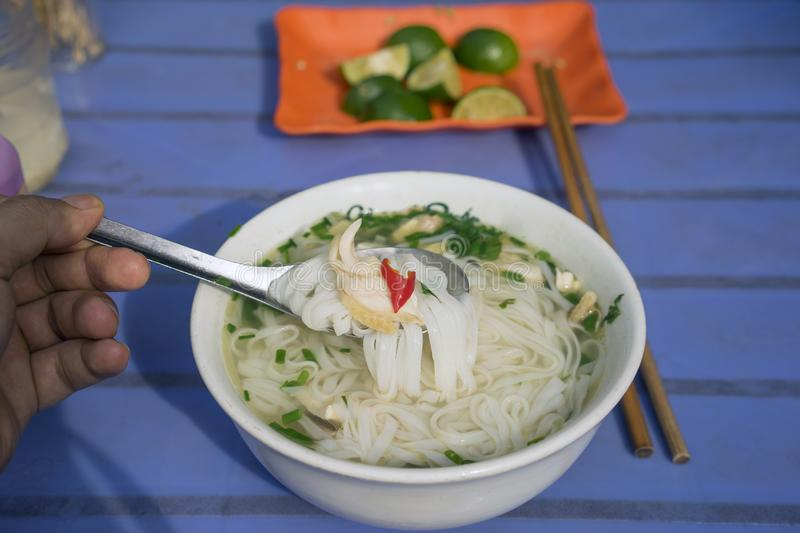 Vietnamese chicken noodle soup called pho, with green onion, bean sprouts and chili stock photos