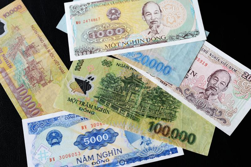 Vietnamese dong bills on a dark background. Money background. Vietnamese dong bills on a dark background close up. Money background stock image