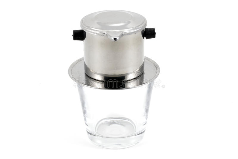 Vietnamese drip coffee filter on white background royalty free stock images