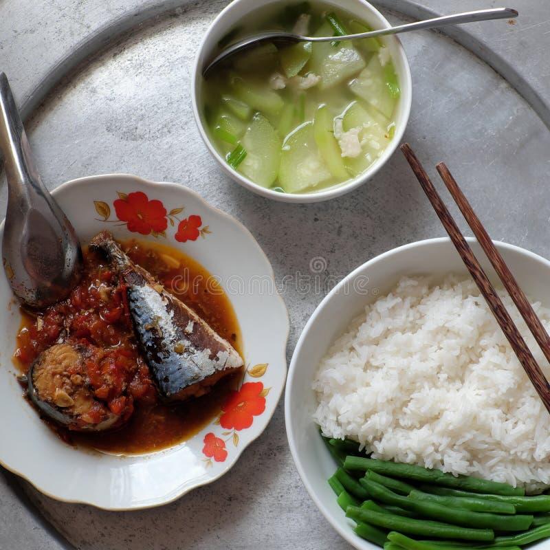 Vietnamese familie dagelijkse maaltijd royalty-vrije stock afbeelding