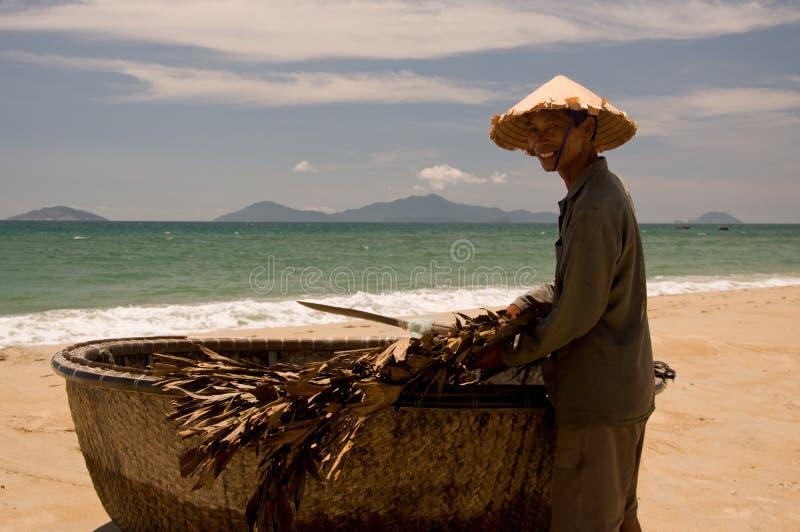 Vietnamese fisherman royalty free stock photography