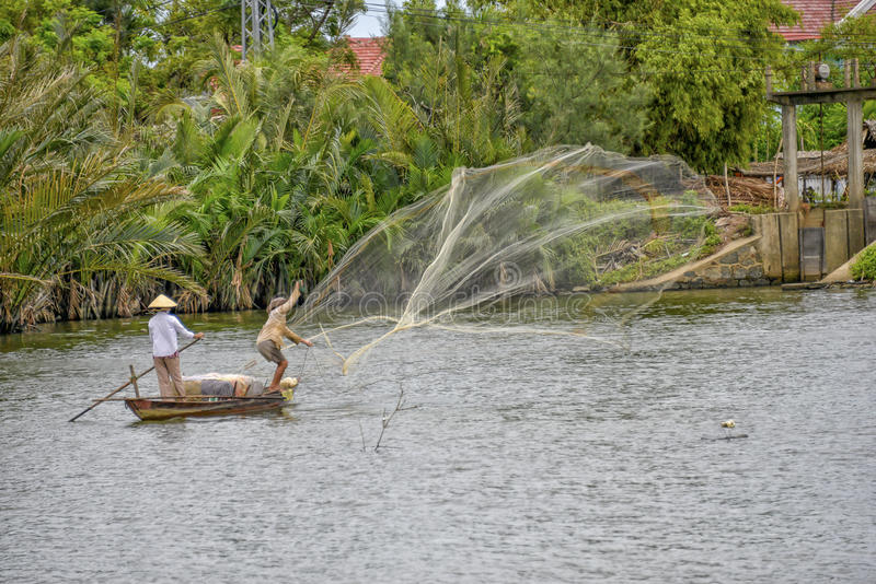 Vietnamese fisherman in Hoi An stock photography